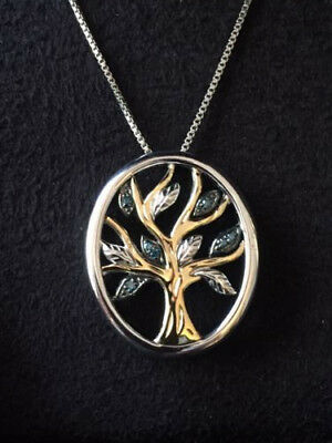 Sterling Silver and 14k Yellow Gold Blue Diamond Tree of Life Pendant Necklace