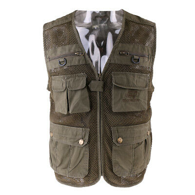 Multi Pocket Fisherman Waistcoat Fly Fishing Hunting Vest with Back Pocket