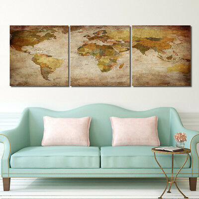 Retro old World Map Photo Print Painting Canvas Abstract Art Wall Decor Framed