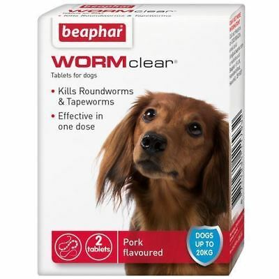Beaphar WORMclear Dog Wormer 2 Tablets Up to 20KG FREE P&P MULTIBUY