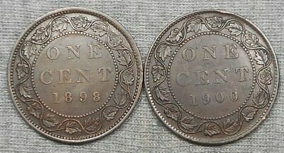 Lot Of 2 Canada Large Cents - 1898 H & 1900(No H)