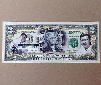 Commemorative Bank Note: Babe Ruth 75th Anniversary Hall of Fame $2 Bill