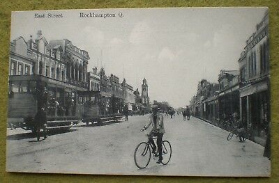 c1910 EAST ST. ROCKHAMPTON QLD.  GOOD DETAIL. E.C.  TRAMS AND BIKES!! and horses
