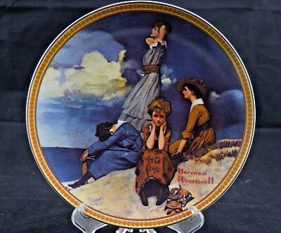 """Norman Rockwell 'Waiting on the Shore"""" Rediscovered Women Collection Plate L48"""