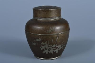 J7545: Japanese XF Old Tin Shikunshi sculpture TEA CADDY Chaire Container, auto