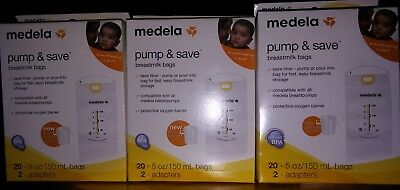 LOT OF 3 20 Count (60 total) Medela Pump and Save Breastmilk Bags NEW SEALED