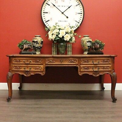 Large Antique French Oak and Tan Leather Partners Desk 10 Drawer Office Desk