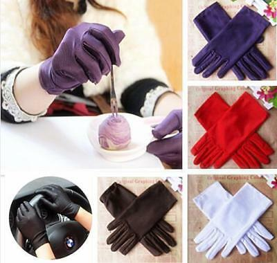 LOUS 9 Colors Evening Party Wedding Formal Prom Stretch Satin Gloves for Women