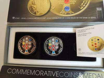 Israel 2009 2 Kabbalah Official Medals, Color, 1oz Silver/999 & Bronze, S/N 0024