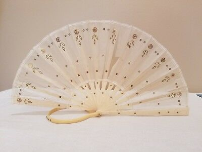 Silk Sequins & Carved Bone Fan Vintage Antique Celluloid Handle Rhinestones