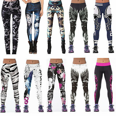 Womens Print YOGA Gym Sports Pants Leggings Fitness Stretch Trouser