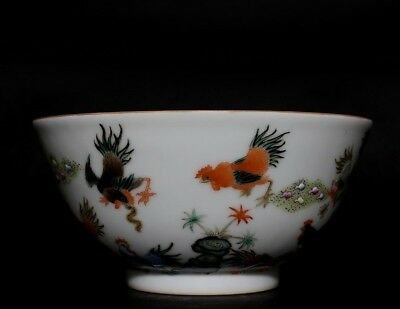 Exquisite Rare China Hand Painting Chicken Porcelain Bowl Mark QianLong FA585 AC