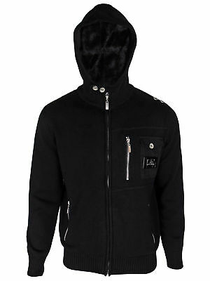 Mens Designer Black Chunky Knitted Jacket Full Zip Cotton Hooded Cardigan Cable