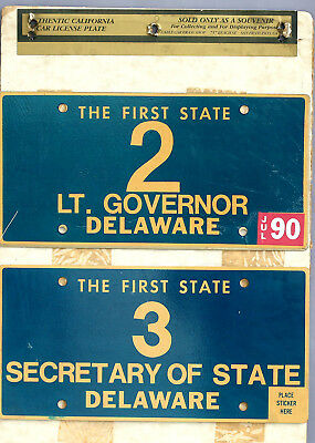 1990 Authentic Collector's Licence Plates Delaware Lt. Governor & Sec. Of State