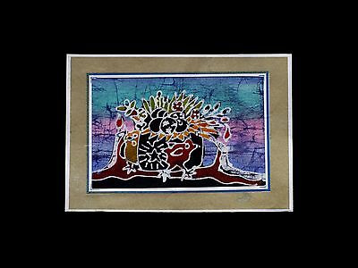 Beautiful vintage hand-made Indonesian BATIK CARD - postcard - not postally used