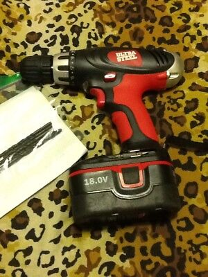 Ultra Steel  Cordless Drill With 5 Drill Bits 18V Power Tool No Charger