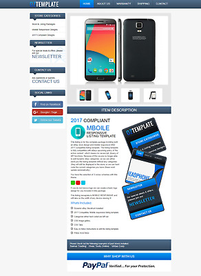 Mobile Responsive eBay Listing Auction Template HTML CSS No Active Content