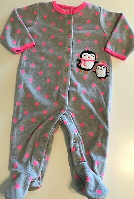 Carters Fleece Sleeper Footed Girls Size 6 Months Gray Pink Penguins Pajamas
