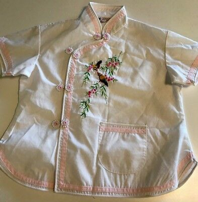 VTG Daffodil Child's Girls Shirt Size 6 Hand Embroidered Floral Blouse 60's