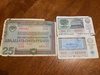 3PCS USSR RUSSIA and Soviet Ukraine lottery tickets from 1984