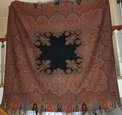 Nice Antique Paisley Wool Square Shawl with 6 Colors