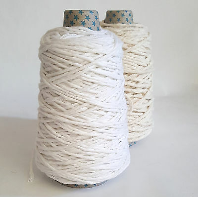 Recycled Chunky Pure Cotton Yarn Thick String Undyed Warp Macrame Rope 200g Cone