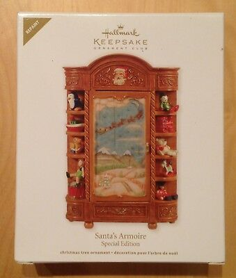 2011 Hallmark Ornament Santa's Armoire Repaint Special Edition,White &  signed