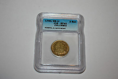 1790/89 NR JJ Colombia Bogota 2 Escudos Colonial Gold Coin Transitional Type