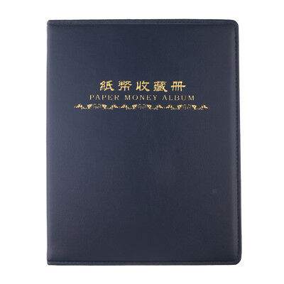 Paper Money Collection Album Book Banknote Currency 60 Pockets Holder Blue