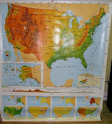 VINTAGE Nystrom Pull Down Classroom Map of UNITED STATES 1PR1A Collectors Must!!