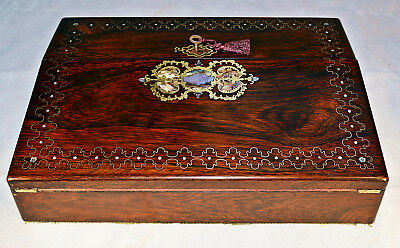 A 19th Century Rosewood Writing Slope with Gilt & Mother of Pearl Inlay & Key