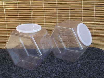 "Lot of two (2) Hexagonal Jar Containers w/Plastic Lids; 5"" W x 7"" H, NEW"