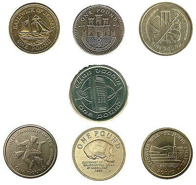One Pound Coins £1 Rare Collectable Isle of Man, Gibraltar, Guernsey, Jersey