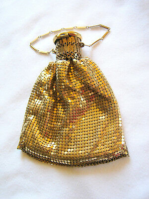 Vintage WHITING DAVIS Gold Metal Mesh Expandable HAND BAG PURSE w/Satin Lining