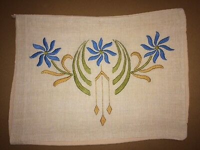 Fantastic Antique Arts & Crafts Linen Embroidered Pillow Cover Mission Stickley