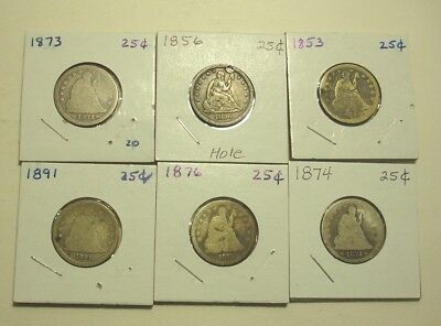 (6) Seated Quarters 1853,1856,1873,1874,1876 & 1891*****cheap***** Circulated