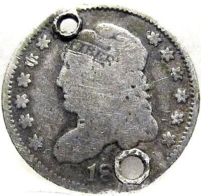 1829-1837 CAPPED BUST HALF-DIME ~ 90% SILVER ~ VG Shape w/HOLES
