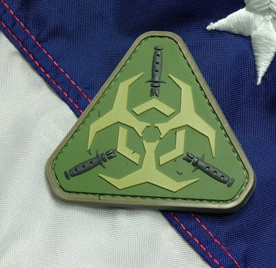 TRIANGLE BIOHAZARD KNIFES PVC MORALE PATCH HOOK LOOP TACTICAL ARMY MILITARY