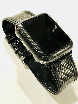 42mm Real Carbon Fibre & Leather Strap Band for Apple Watch Series 1, 2 & 3
