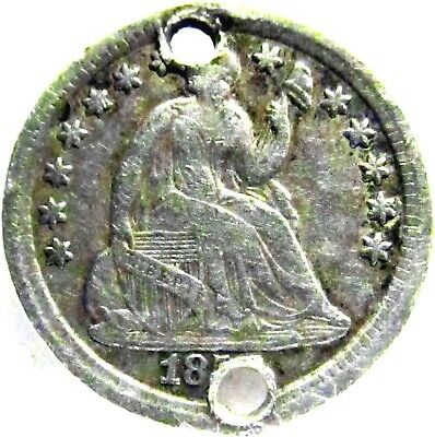 185-? SEATED LIBERTY HALF-DIME ~ Fine Details, Holed; A2