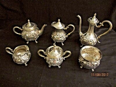 Sterling Silver Coffee/Tea set from Shreve of San Francisco 1898 Monogramed 6 pc