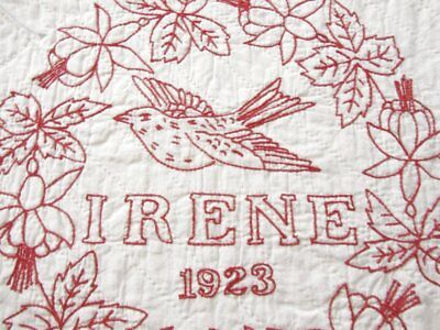 A Christmas Story! Pictorial Redwork ANTIQUE Quilt made by Irene in 1923 Dated