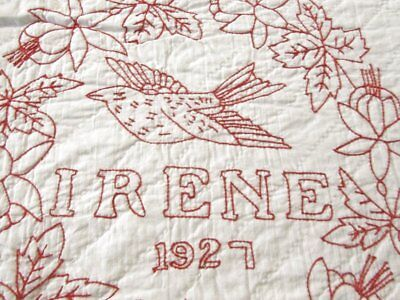 A Christmas Story! Pictorial Redwork ANTIQUE Quilt made by Irene in 1927 Dated
