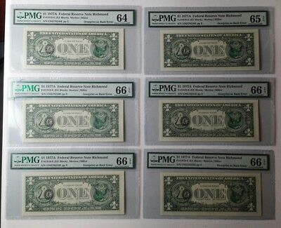 Lot of Six Consecutive 1977A $1 FRN Overprint on Back Errors PMG Graded