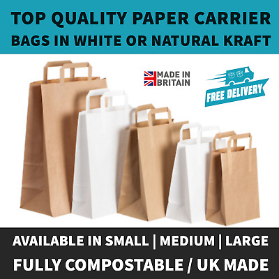 Brown & White Kraft Paper SOS Food Carrier Bags With Handles Party Takeaway