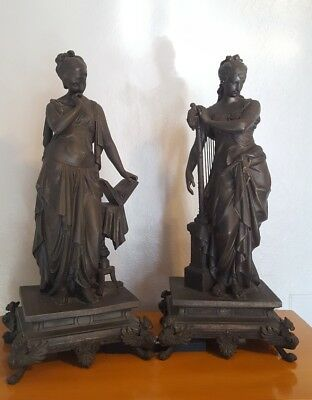 "2 Large 18"" 9lb antique bronze statues woman french ? greek goddess ? lyre muse"