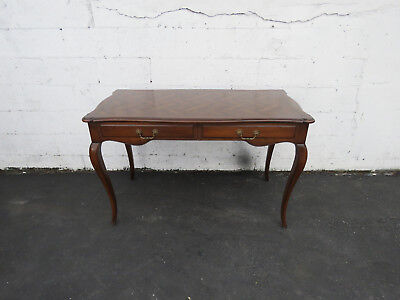 French Carved Inlay Parquet Top Office Writing Desk 8687