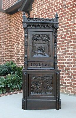 Antique French Oak GOTHIC Allegorical Cabinet Bookcase Drawer Early 19th Century