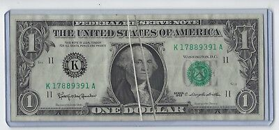 Double Gutter Fold Error Note 2 Sided Pristine 1963 $1 FRN. GEORGE BEHIND BARS!