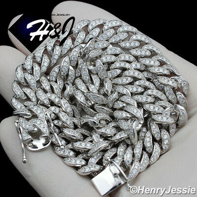 """18-30""""men 925 Sterling Silver 8Mm Iced Lab Diamond Miami Cuban Chain Necklace*11"""